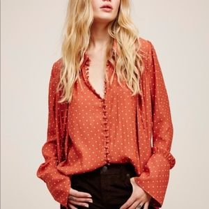 NWOT: Free People Modern Muse Dotted Blouse